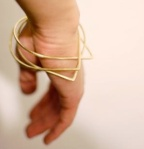 Brass Teardrop Bangle, $25