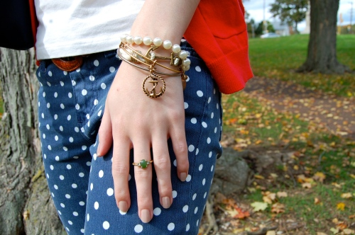 navy polka dot preppy