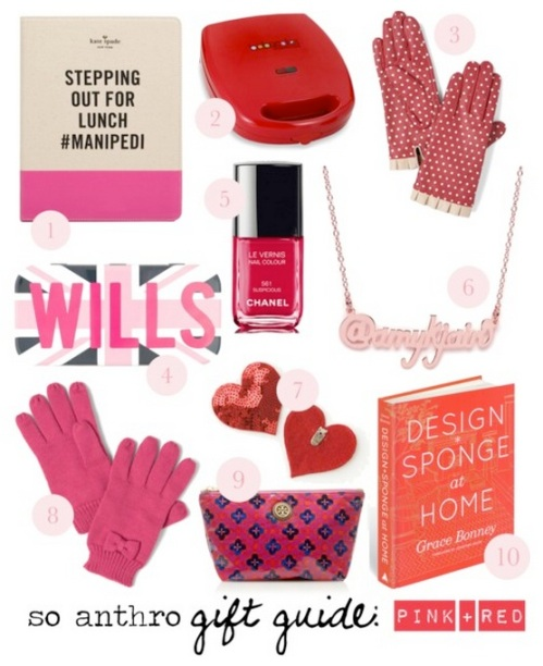 holiday gift guide pink and red gifts