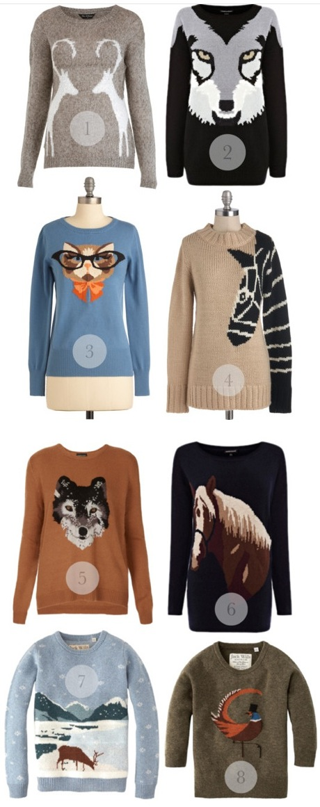 animal christmas sweaters