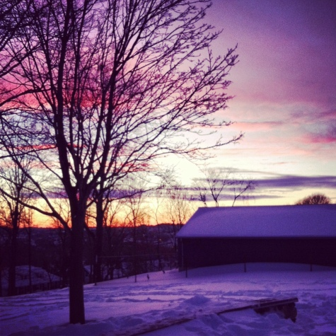 pink purple snow sunset