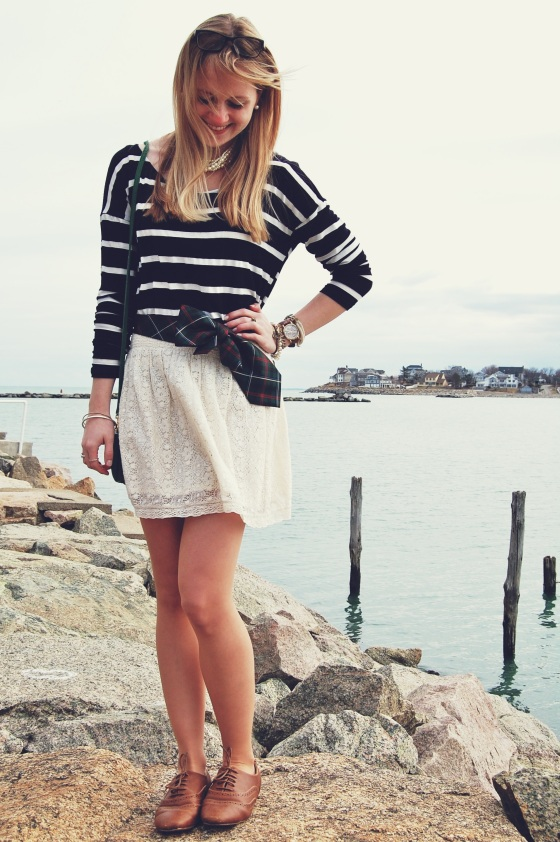 striped shirt lace skirt