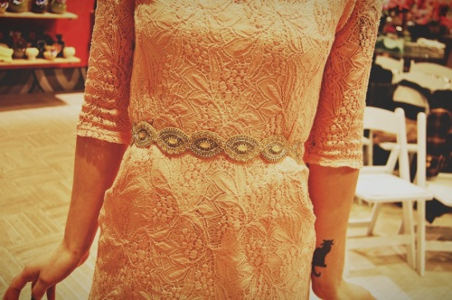 anthropologie pink lace dress jewel belt