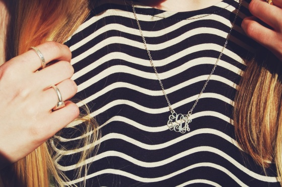 silver small monogram necklace