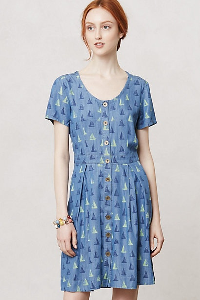 anthropologie sailboat chambray dress