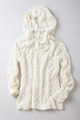 anthropologie knit cream hoodie