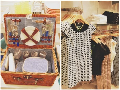 c wonder picnic basket set; black and white shift dress