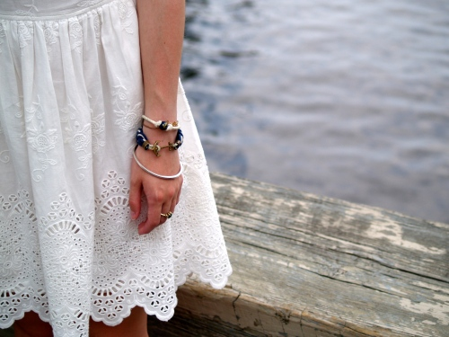navy white kiel james patrick rope bracelet; white eyelet dress scallop hem