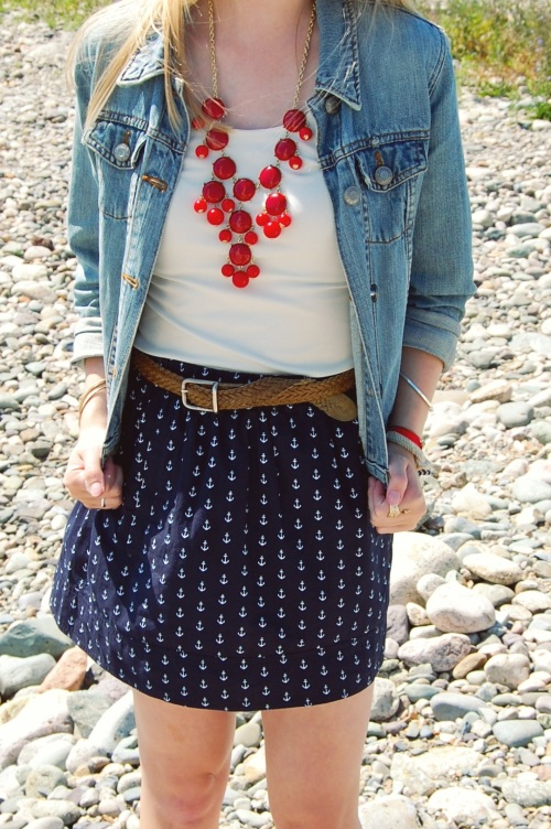 navy anchor skirt