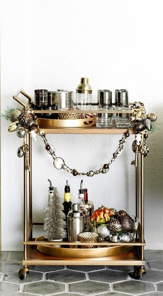 Winter-Styled Bar Cart