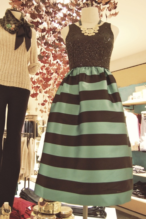 Mint and Black Striped Party Dress