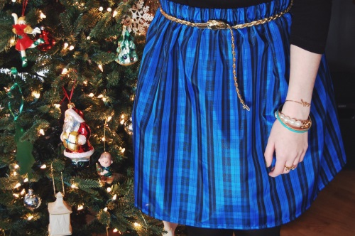 blue plaid taffeta skirt