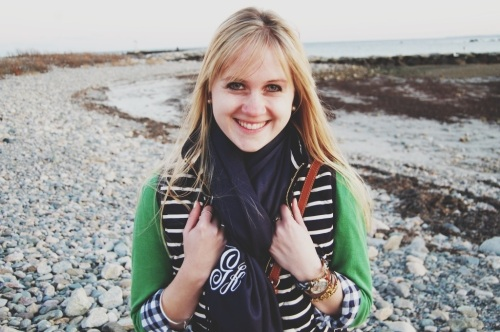 Navy Monogram Scarf