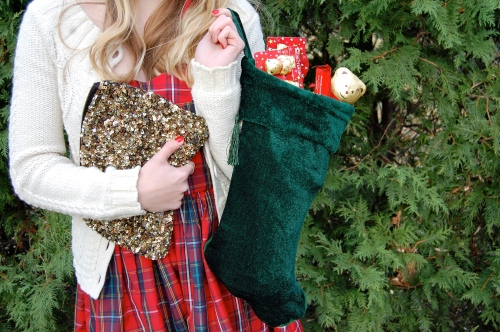 Gold Sequin Clutch // Forest Green Stocking