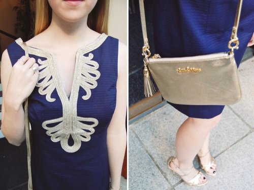 Navy + Gold Party Shift Dress