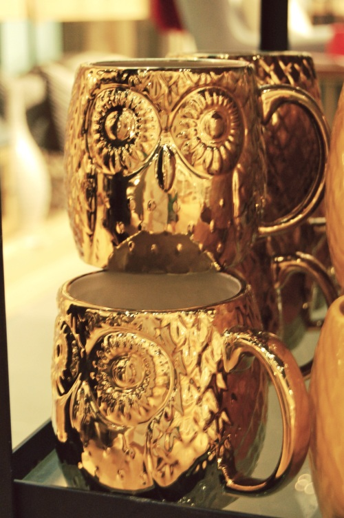 Gold Owl Mugs
