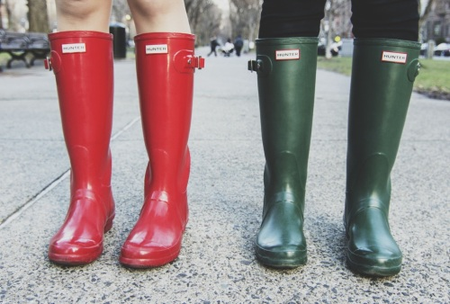 Green and Red Hunter Boots