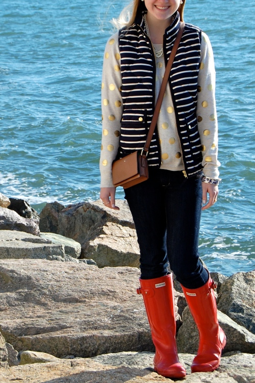 Navy White Striped Puffer Vest