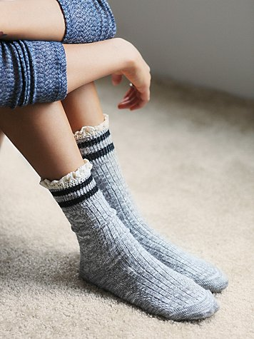 Free People Rugby Ruffle Socks