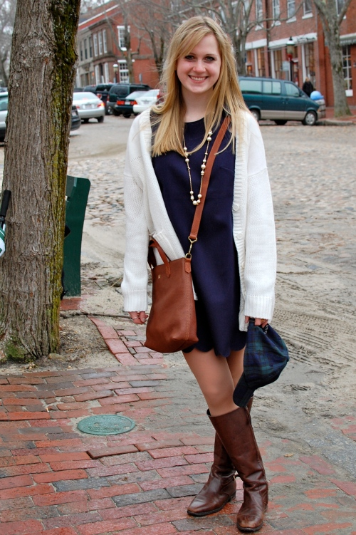 Madewell Mini Transport Crossbody; J. Crew Navy Scallop Dress