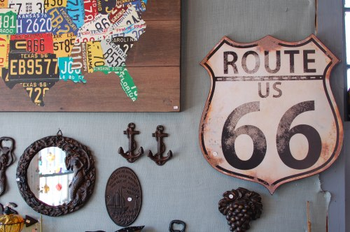 Route 66 Metal Sign; Anchor Hangers; License Plate Map