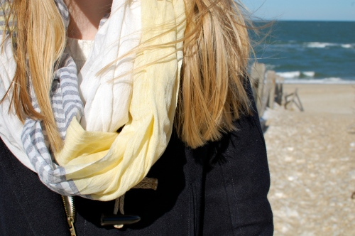 Yellow Gray Striped Scarf