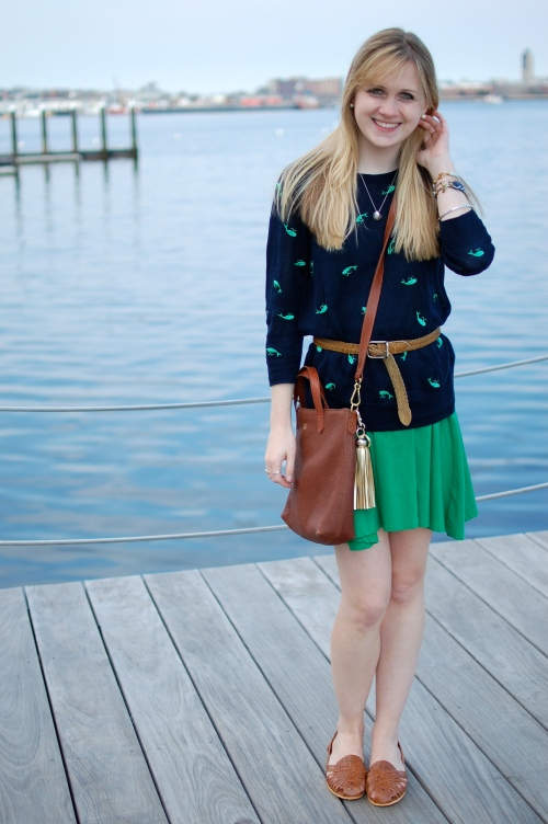 J.Crew Whale Sweater | Urban Outfitters Green Fit + Flare Dress