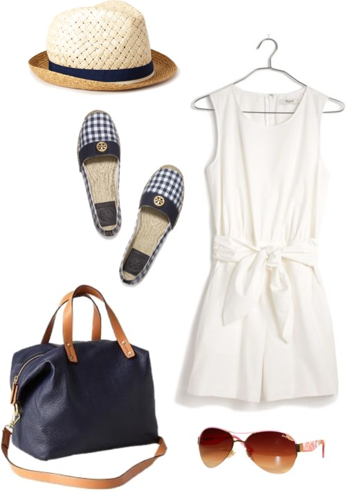 White Bow Romper; Tory Burch Gingham Espadrilles