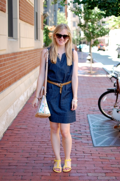 Denim Shift Dress; Yellow Sandals