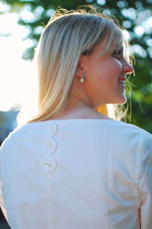 White Button Back Blouse