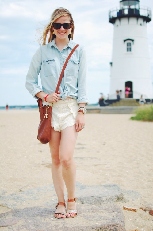 Chambray Shirt; Cream Lace Shorts