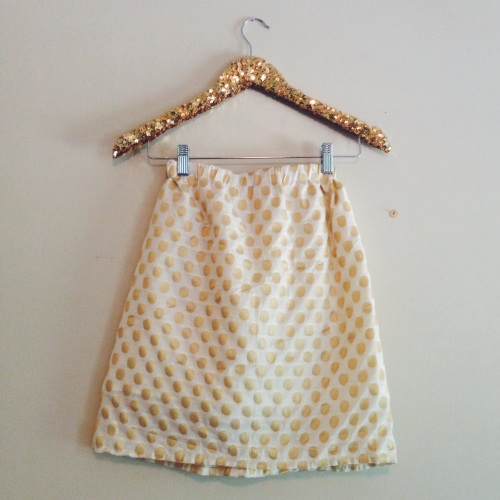 Gold Polka Dot Skirt; Gold Sequin Hanger