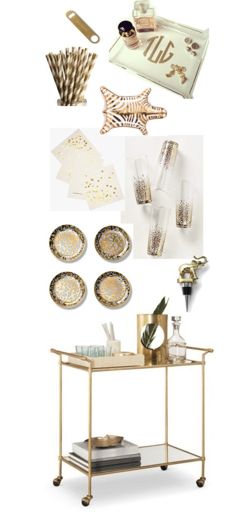 Gold barware; bar cart accessories