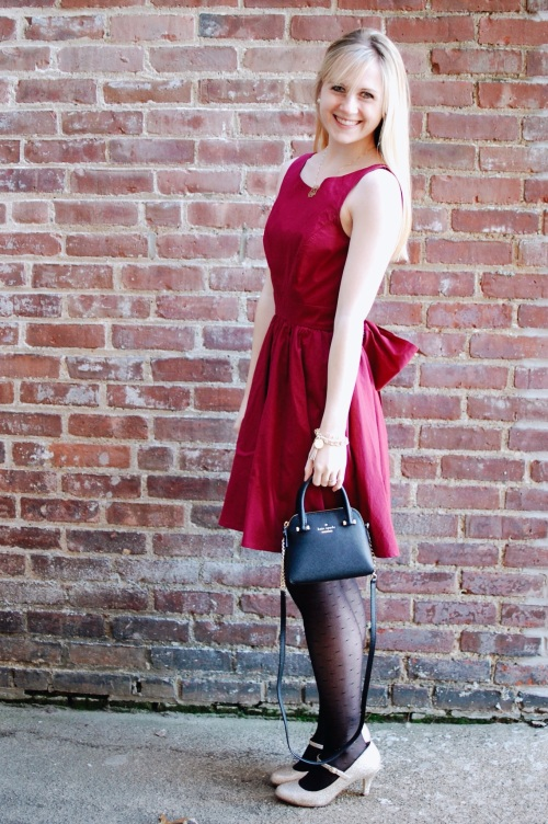 Crimson Dress; Polka Dot Tights