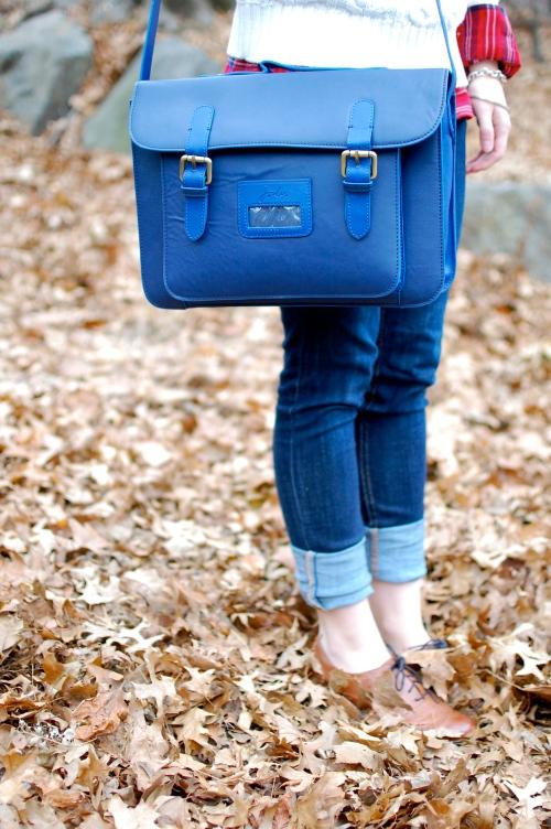 Joules Blue Leather Satchel