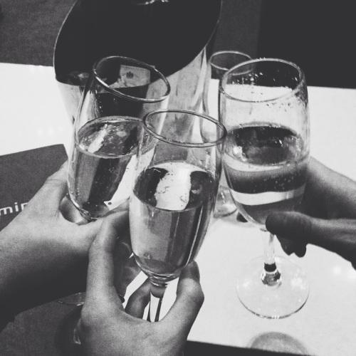 black and white champagne photo
