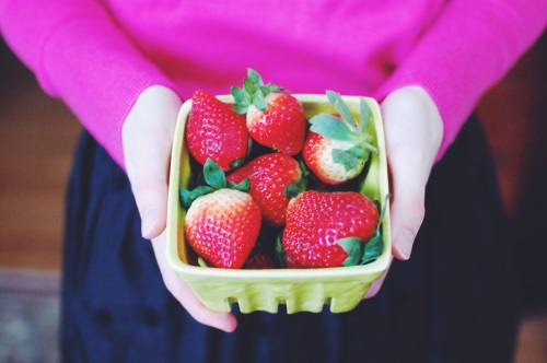 Glass Strawberry Container