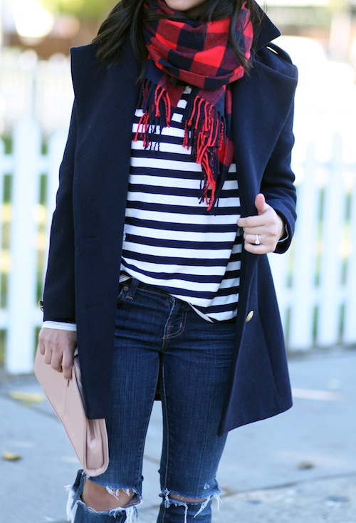 Navy Pea Coat + Red Plaid Scarf