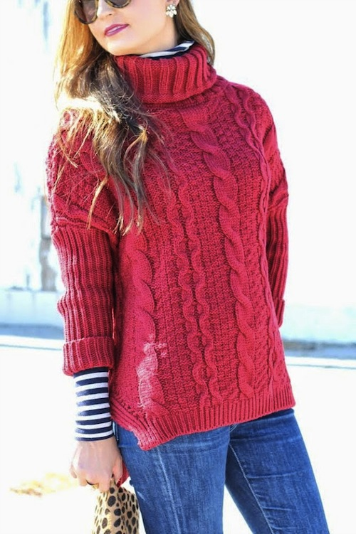Red Cable Knit Sweater + stripes