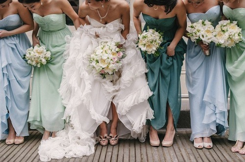 shades of green bridesmaid dresses