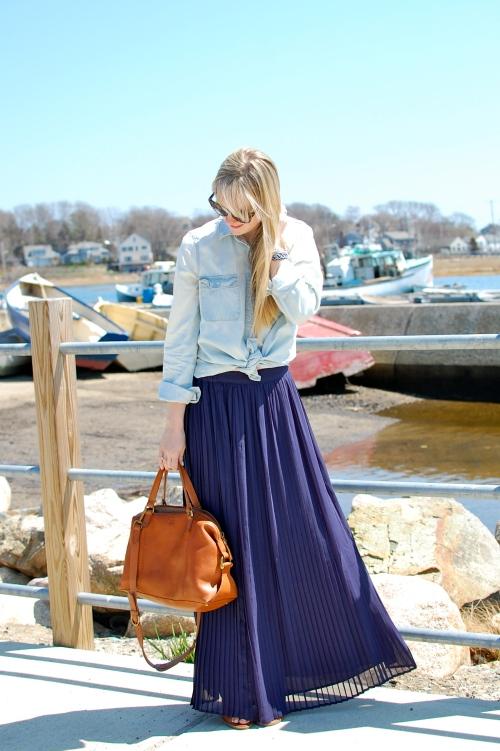 Navy Pleated Maxi Skirt