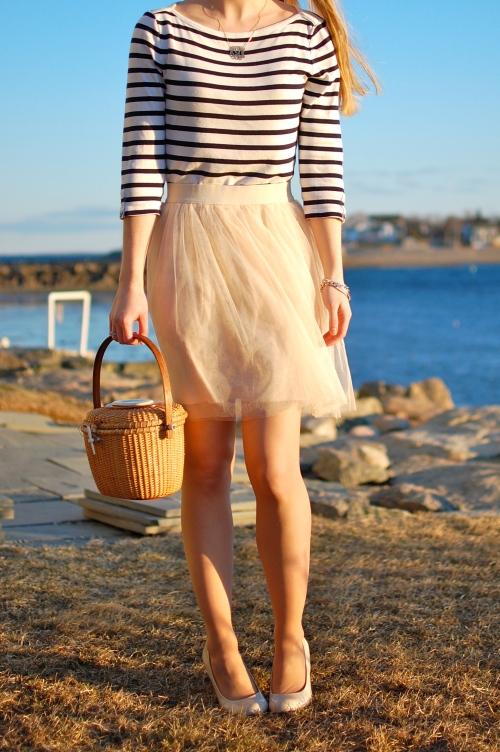 Striped Tee Tulle Skirt