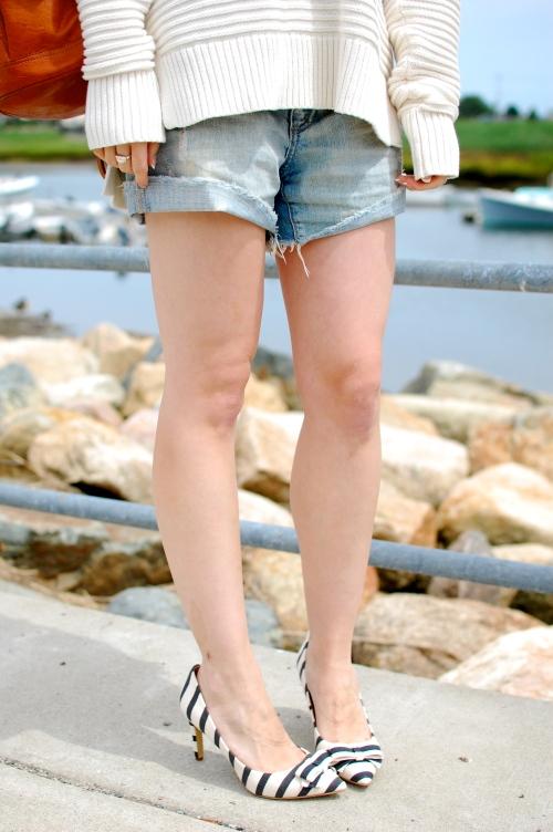 Navy White Striped Heels