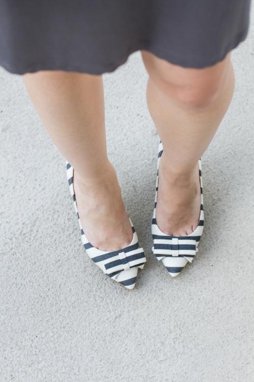 striped navy heels